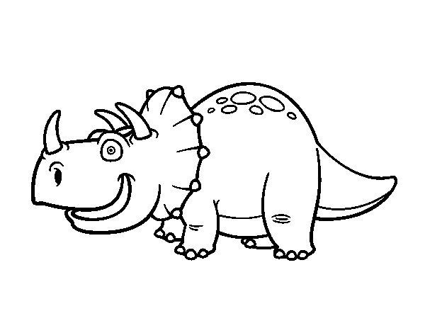 Coloriage de Dinosaure Triceratops pour Colorier