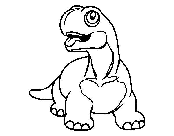 Coloriage de Diplodocus à la langue pendante pour Colorier