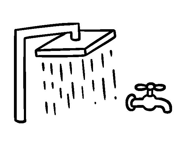 Coloriage de douche et mitigeur de baignoire pour colorier for Dessin de salle de bain a imprimer