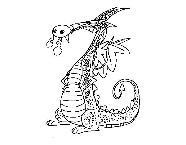 Coloriage de Dragon avec la fumée pour Colorier