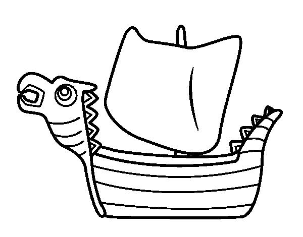 Coloriage de drakken bateau viking pour colorier - Dessin de viking ...