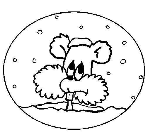 Coloriage de Écureuil sur une boule de neige pour Colorier