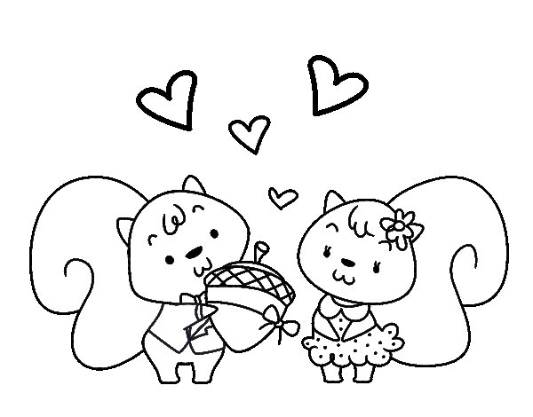 Coloriage de Écureuils amoureux pour Colorier