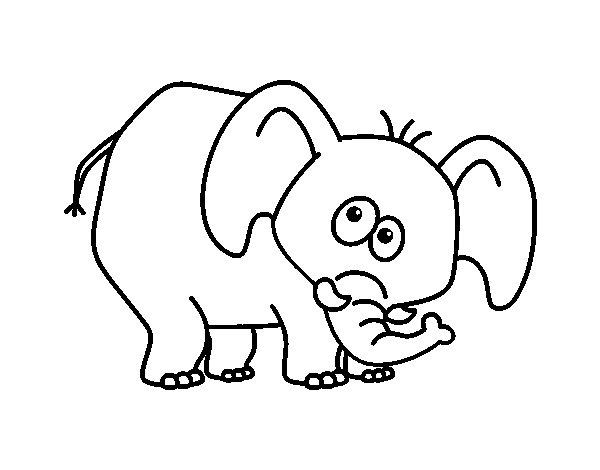 Coloriage de Éléphant honteux pour Colorier