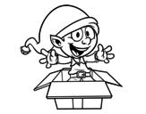 <span class='hidden-xs'>Coloriage de </span>Elf laissant un cadeau à colorier