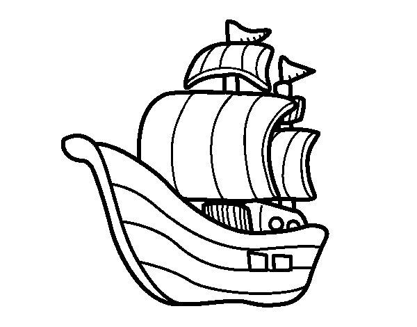 Coloriage de Embarcation pirates pour Colorier