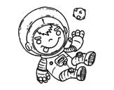 <span class='hidden-xs'>Coloriage de </span>Enfant astronaute à colorier