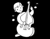 <span class='hidden-xs'>Coloriage de </span>Enfant avec Violoncelle à colorier