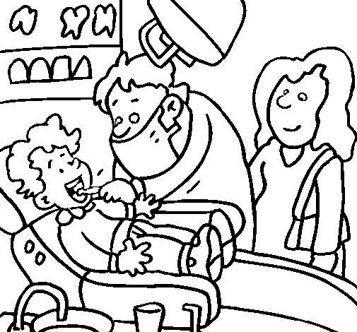Coloriage de Enfant chez le dentiste pour Colorier