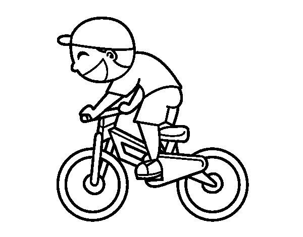 Coloriage de enfant cycliste pour colorier - Dessin cycliste ...