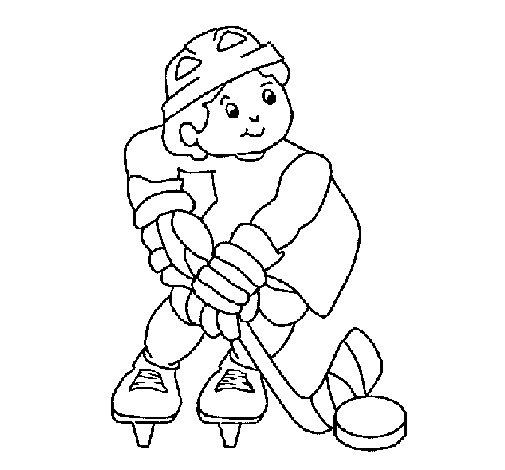 Coloriage de Enfant jouant au hockey pour Colorier