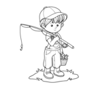 <span class='hidden-xs'>Coloriage de </span>enfant pêcheur à colorier