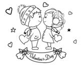<span class='hidden-xs'>Coloriage de </span>Enfants valentine à colorier