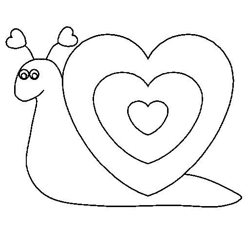 Coloriage de Escargot cœur pour Colorier