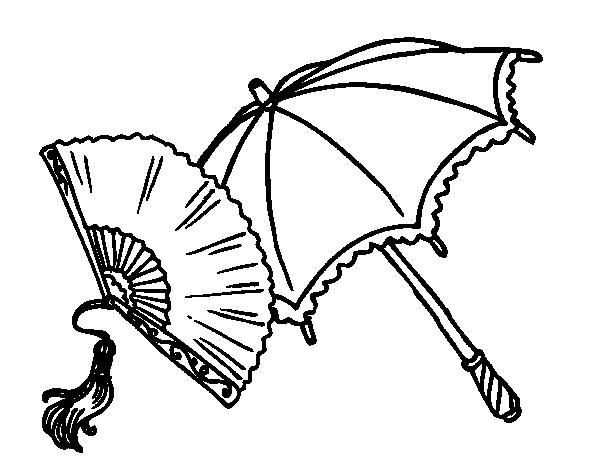 Coloriage de ventail et parapluie pour colorier - Coloriage espagnol ...