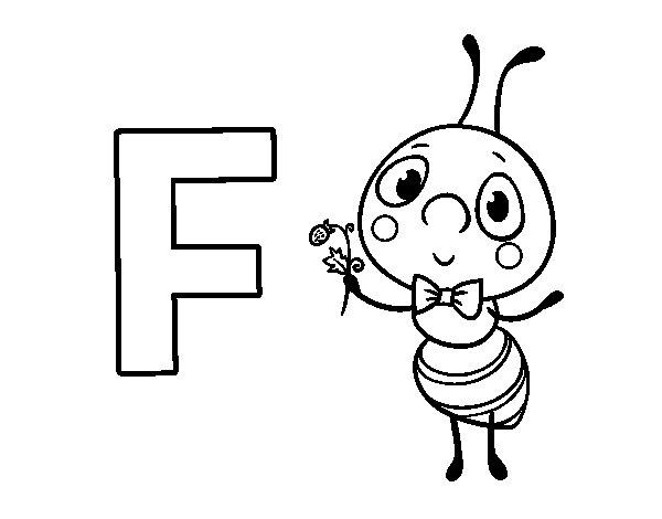 Coloriage de F de Fourmi pour Colorier