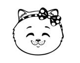 Dibujo de Face de petite chat content