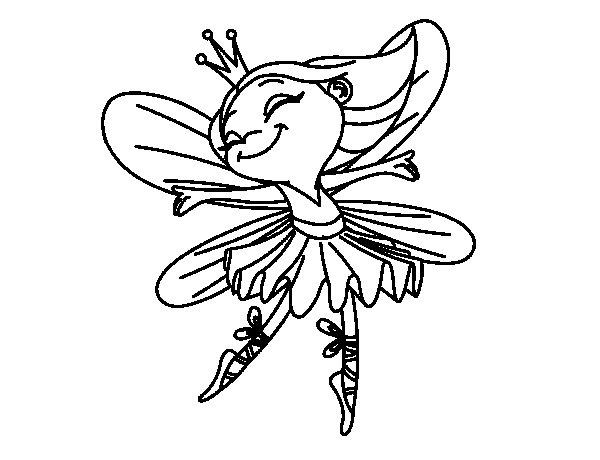 Coloriage de Fée avec des ailes pour Colorier