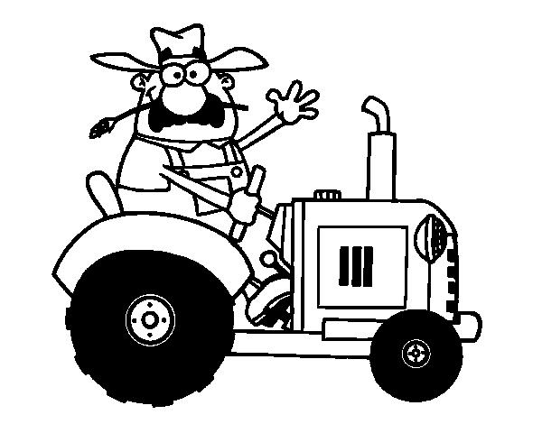 Coloriage de fermier sur son tracteur pour colorier - Coloriage fermier ...
