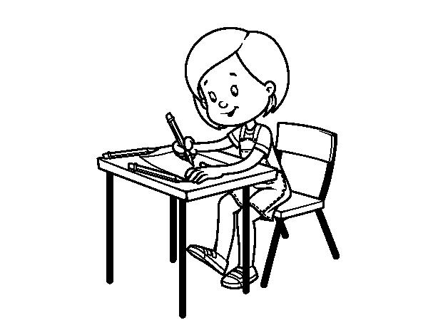 coloriage de fille son bureau pour colorier. Black Bedroom Furniture Sets. Home Design Ideas