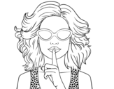 <span class='hidden-xs'>Coloriage de </span>Fille avec des lunettes de soleil à colorier