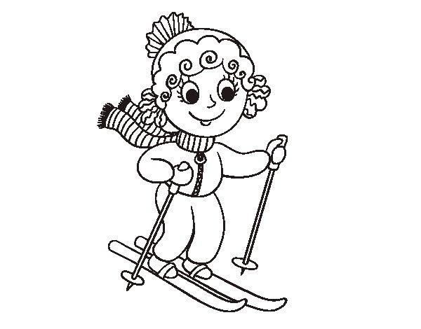 Coloriage de Fille avec des skis pour Colorier