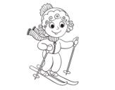<span class='hidden-xs'>Coloriage de </span>Fille avec des skis à colorier