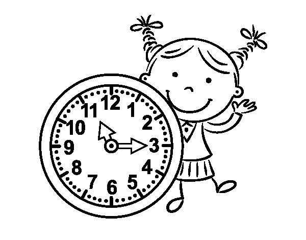 Coloriage de Fille avec horloge pour Colorier