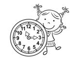 <span class='hidden-xs'>Coloriage de </span>Fille avec horloge à colorier