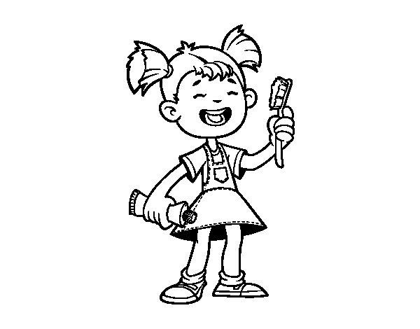 Coloriage de Fille avec la brosse à dents pour Colorier