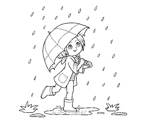 Coloriage de fille avec le parapluie sous la pluie pour - Parapluie dessin ...