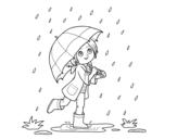 <span class='hidden-xs'>Coloriage de </span>Fille avec le parapluie sous la pluie à colorier
