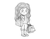 <span class='hidden-xs'>Coloriage de </span>fille d'été avec le shopping à colorier