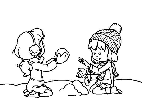 Coloriage de Filles jouant avec la neige pour Colorier