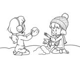 <span class='hidden-xs'>Coloriage de </span>Filles jouant avec la neige à colorier