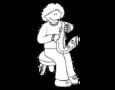 <span class='hidden-xs'>Coloriage de </span>Fillette avec trompette à colorier