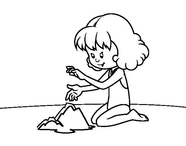 Coloriage de fillette faire un ch teau de sable pour colorier - Coloriage fillette ...