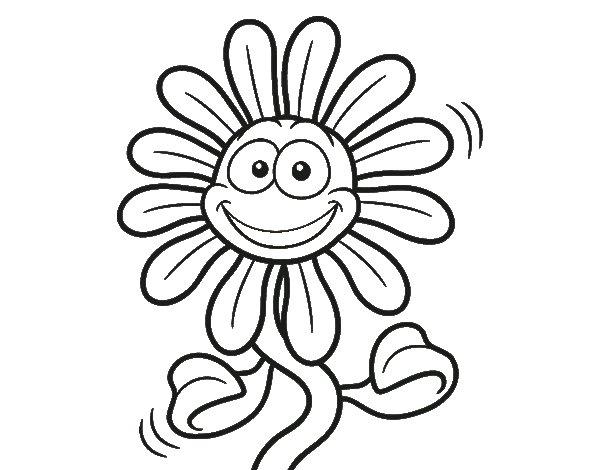 Coloriage de Fleur animée pour Colorier