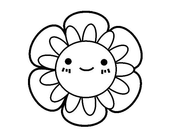 Coloriage de Fleur enfantin pour Colorier