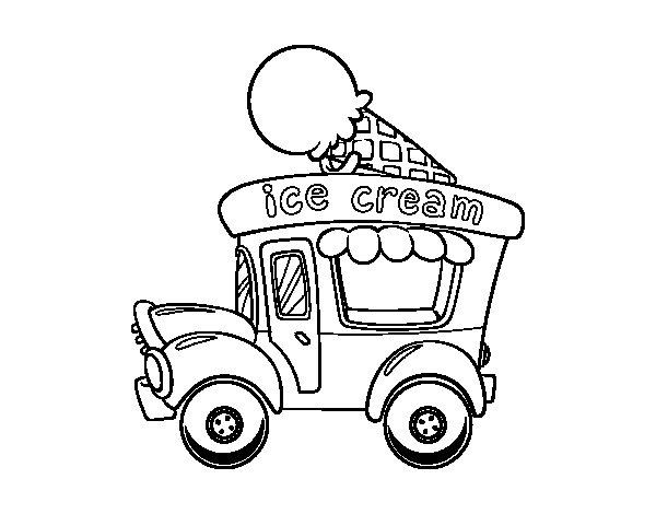 Coloriage de Food truck de crème glacée pour Colorier