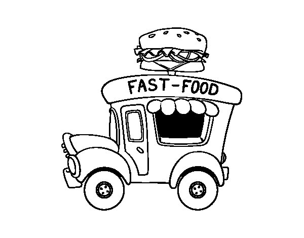 Coloriage de Food truck de hamburger pour Colorier