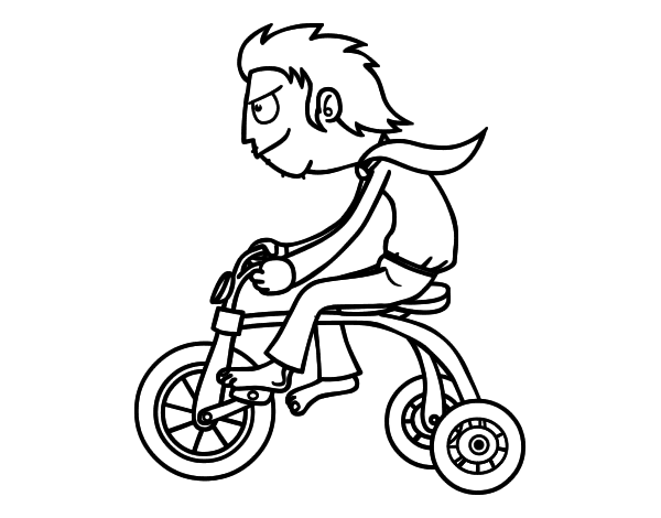 Coloriage de gar on sur le tricycle pour colorier - Coloriage de garcon ...