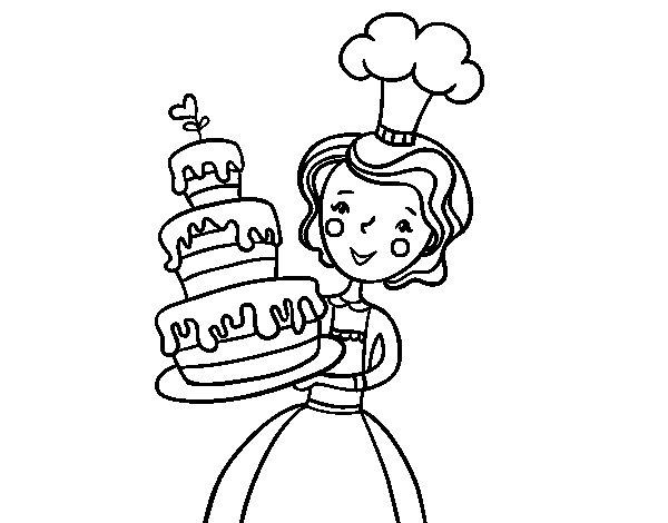 Coloriage de Gâteau maison d'anniversaire pour Colorier