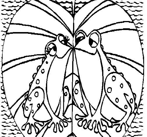 Coloriage de Grenouilles qui s'aiment pour Colorier