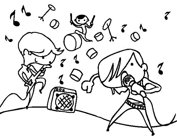 Coloriage de Groupe musical pour Colorier