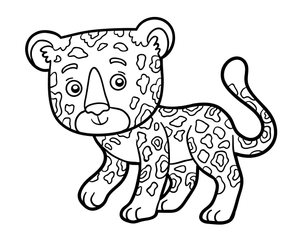 Coloriage de gu pard jeune pour colorier - Guepard dessin ...
