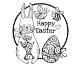 <span class='hidden-xs'>Coloriage de </span>Happy Easter à colorier