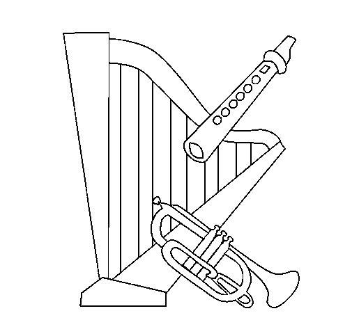Coloriage de harpe fl te et trompette pour colorier - Dessin de flute ...