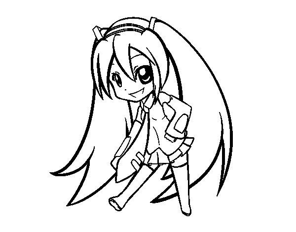 Coloriage de Hatsune Vocaloid pour Colorier
