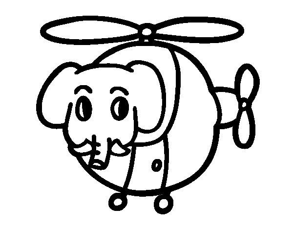 Coloriage de Hélicoptère avec éléphant pour Colorier